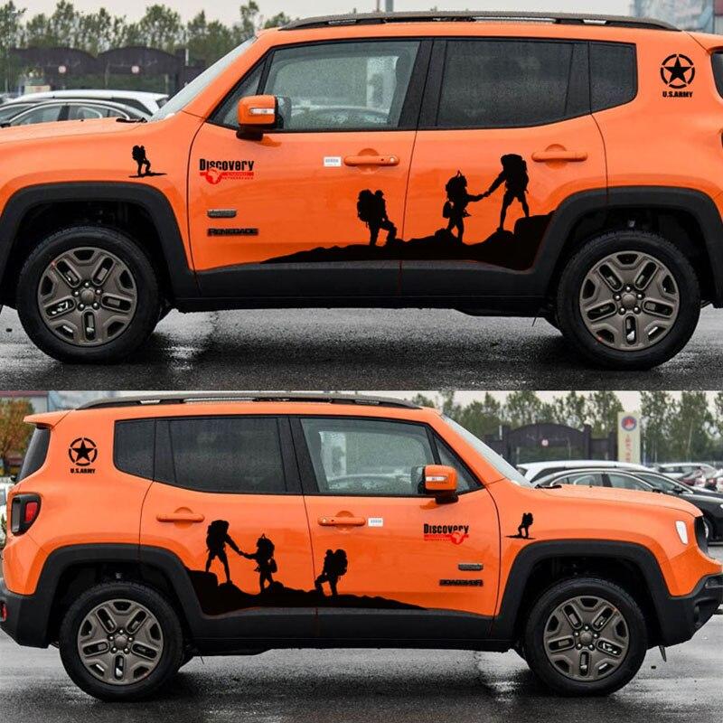 Крутой цельный узор дизайн автомобиля боковой юбки Декор наклейки и наклейки, Дискавери Автомобиль Стайлинг высечки этикетки для JEEP/HONDA CRV