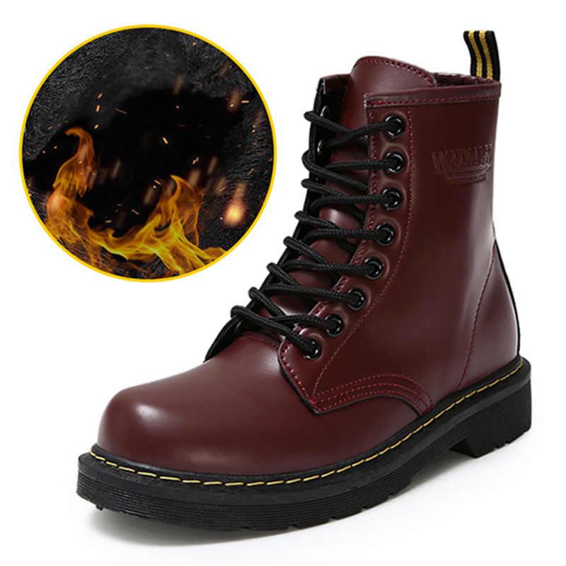 Kış yarım çizmeler Pu Deri Kadın Botları Martin Çizmeler Kadın iş ayakkabısı Siyah Yuvarlak Ayak Dantel-up Kadın Ayakkabı Kadın çizmeler