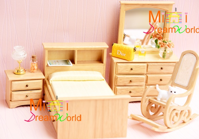 MINI Dollhouse Mini furniture accessories oak bedroom bed rocking chair dresser set of four