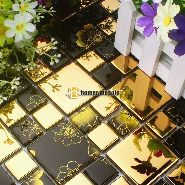Online kopen Wholesale Zwart en goud glazen tegel backsplash uit ...