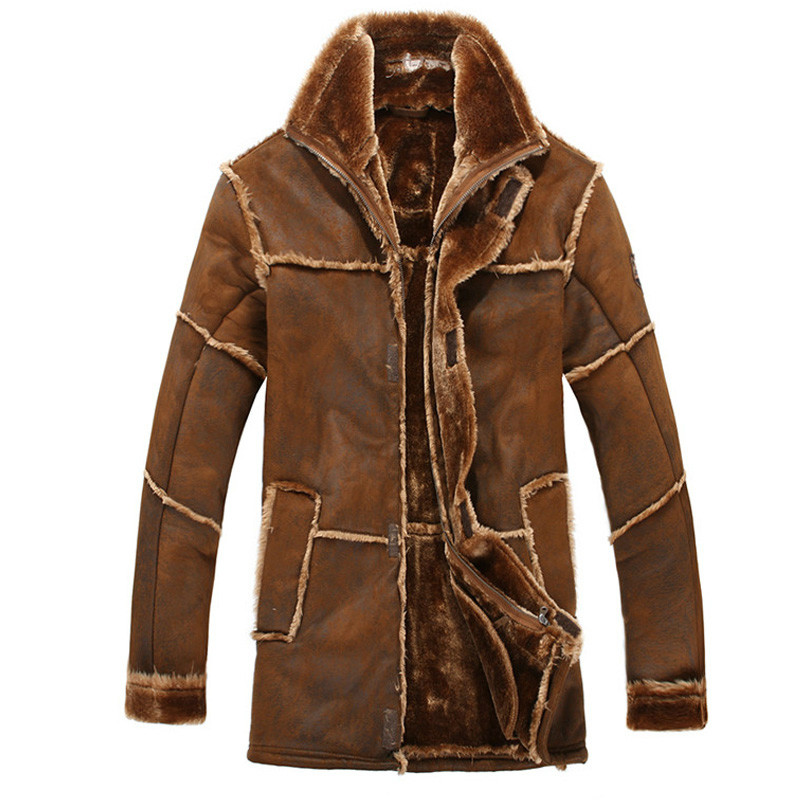 European Style Male Fashion Thick Warm Outwear Winter Men Faux Fur Coat Spliced Suede Leather Jacket Parkas Over Size