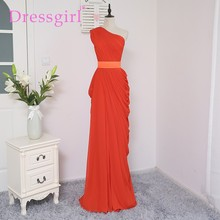Dressgirl 2017 Cheap Bridesmaid Dresses Under 50 Sheath One-shoulder Chiffon Burgundy Long Wedding Party Dresses