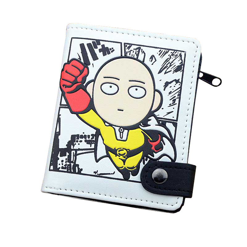 Anime One Punch Man PU White Zero Wallet/Coin Purse with Interior Zipper Pocket