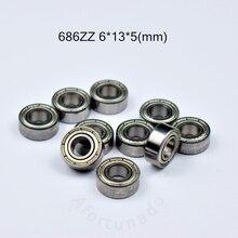 686 686ZZ 6*13*5(мм) 10 шт. Подшипник ABEC-5 подшипники металлический герметичный подшипник 686 686Z 686ZZ хромированный стальной подшипник