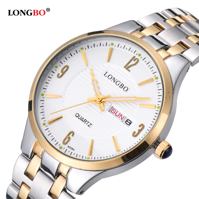 Amantes LONGBO Casal de Aço Inoxidável Relógios de Quartzo Reloj Casuais Masculino relógio de Pulso com Data do Calendário e À Prova D' Água 80084
