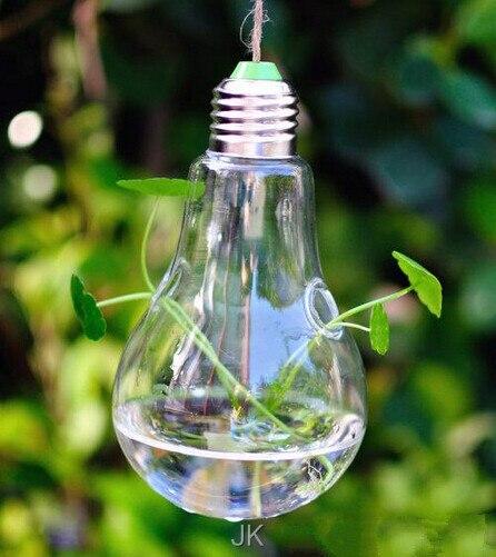 108 pcs Fashion Hot Light bulb shape glass hanging terrarium vases air plant succulent terrarium for home decoration