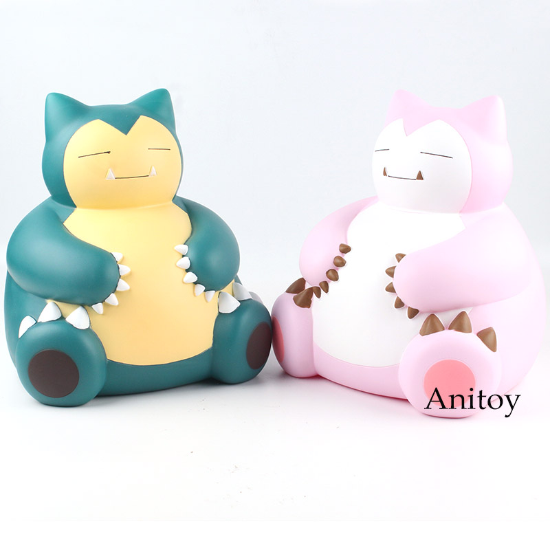Cartoon Monster Snorlax Piggy Bank Coin Bank PVC Anime Figure Collectible Model Toy Doll Gift 2 Colors 23cm