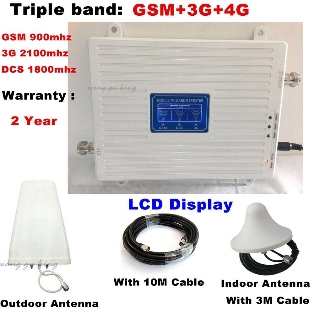 Nouveau amplificateur de Signal cellulaire 2G 3G 4G 70dB GSM 900 DCS 1800 mhz WCDMA 2100 mhz répéteur à trois bandes LTE 1800 mhz ensemble d'antenne amplificateur