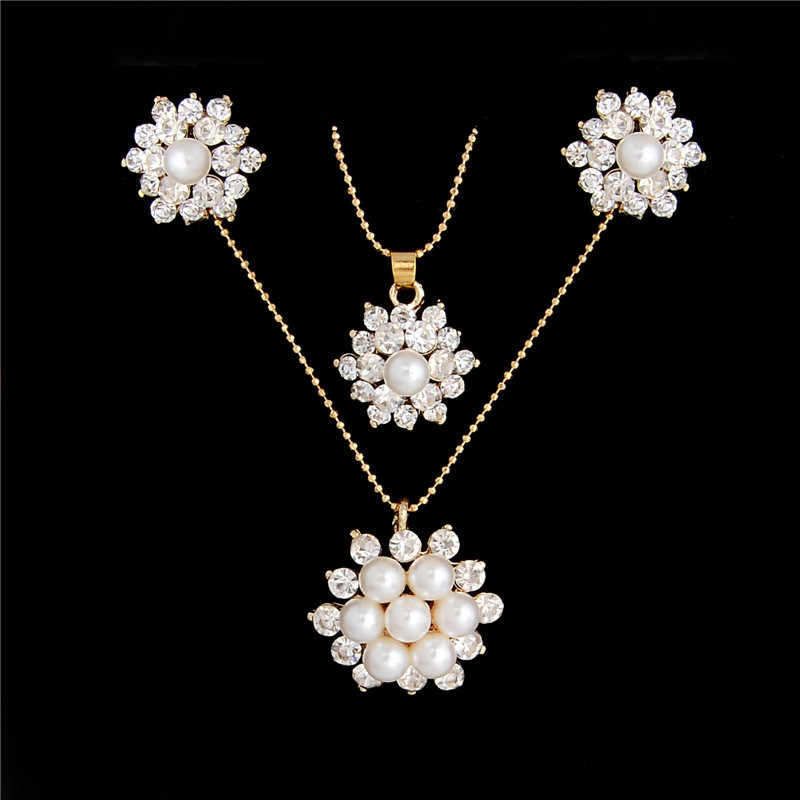 SHUANGR Simulated Pearl Austrian Crystal Flower Jewelry Sets For Women Wedding Gold Color Chain Jewelry Necklace Stud Earrings