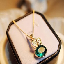 2017 New Fashion Sea Green Rabbit Control Drilling Cute Rabbit Crystal Clavicle Pendant Necklace Jewelry Lady Gift
