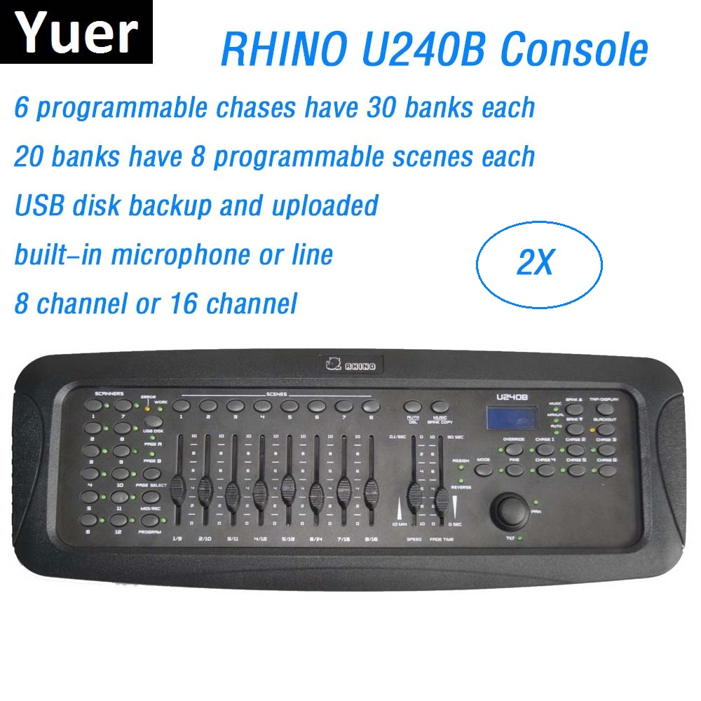 2XLot New RHINO 240B DMX Controller Dj Equipments DMX512 Stage Lighting Console For LED Par Moving Head Spotlights Dj Controller hot sale 240a dmx controller 240b console stage lighting dj equipment dmx 512 console for led par moving head spotlights dj