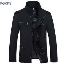 FGKKS 2018 Brand Men Jacket Coats Fashion Trench Coat New Autumn Casual Silm Fit Overcoat Black Bomber Jacket Male
