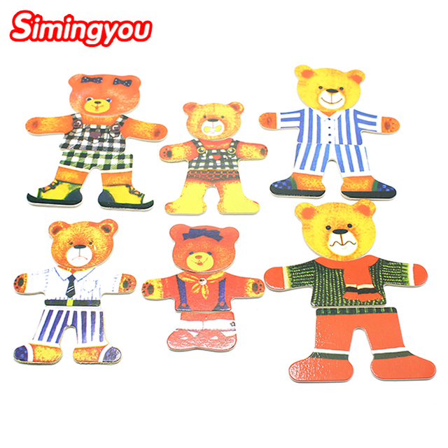 Simingyou Learning Montessori Toy For Kids Color Four Bear Changing Clothes Wooden Puzzle Educational Toys For Children SY17