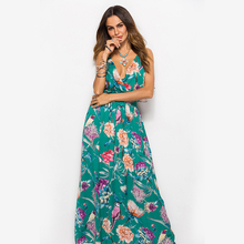 Sexy Deep V-Neck Floral Women Dress Long Print Backless Sleeveless Female Dress 2019 Summer Beach Style Fashion Casual Clothing rose backless design floral print deep v neck sleeveless dresses