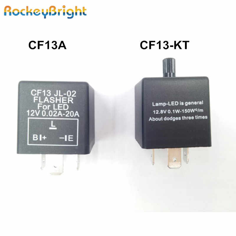 Rockeybright 12V 3-Pin 0.02A-20A Elektronik LED Adjustable Flasher Relay untuk Sinyal Giliran Lampu Blinker CF13-KT mobil Flasher Relay