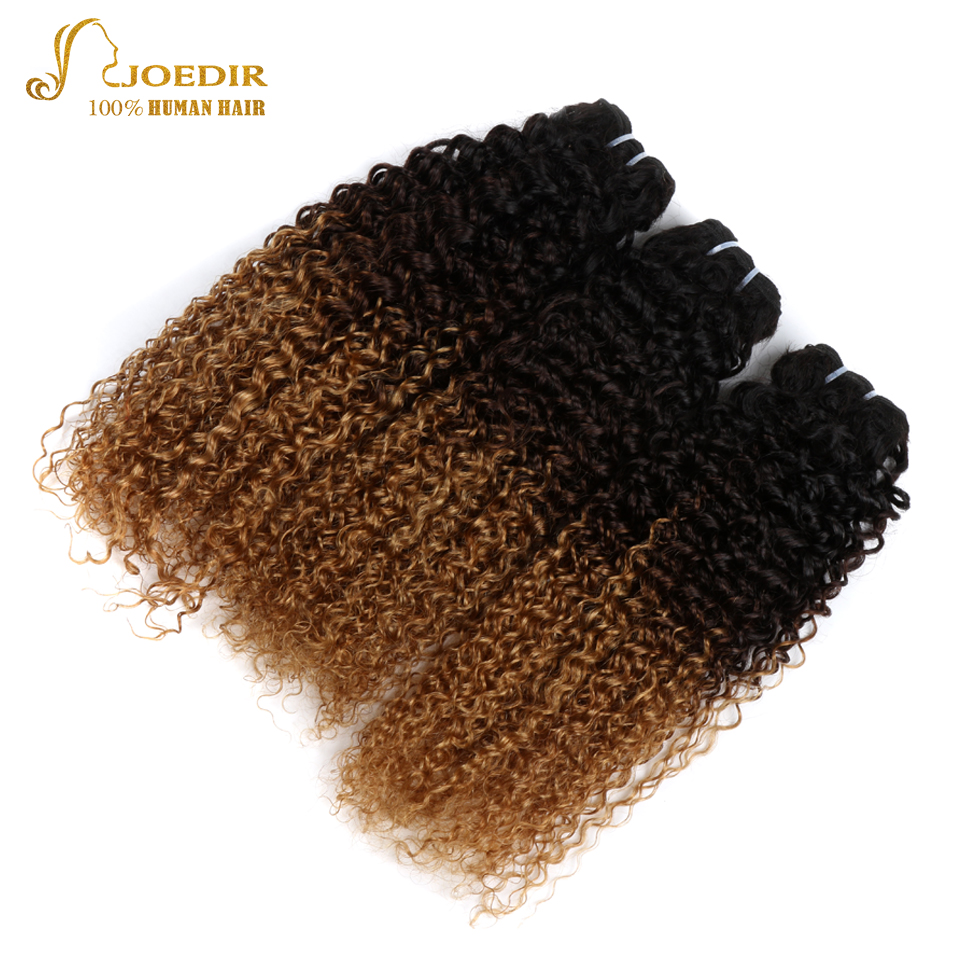 JOEDIR Hair Ombre Brazilian Afro Kinky Curly Weave Bundles 3 Bundles Deal T1B/4/27 Three Tone Color Human Hair Extensions