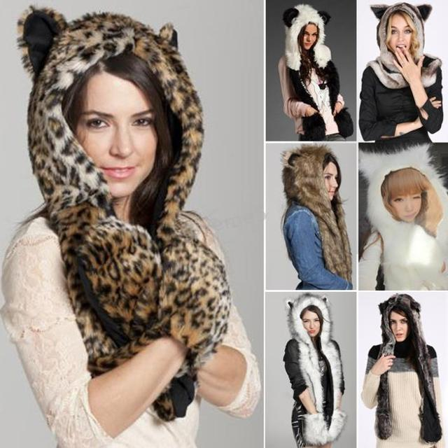 2014 New Fashion Women Faux Fur One Piece Cartoon Cap Belt Scarf Fur Hat Female Winter Animal Fur Cap Free Shipping