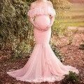 Vestidos de embarazada para sesión fotográfica maternidad Props embarazo hombros descubiertos volantes Maxi vestidos vestido ropa de maternidad