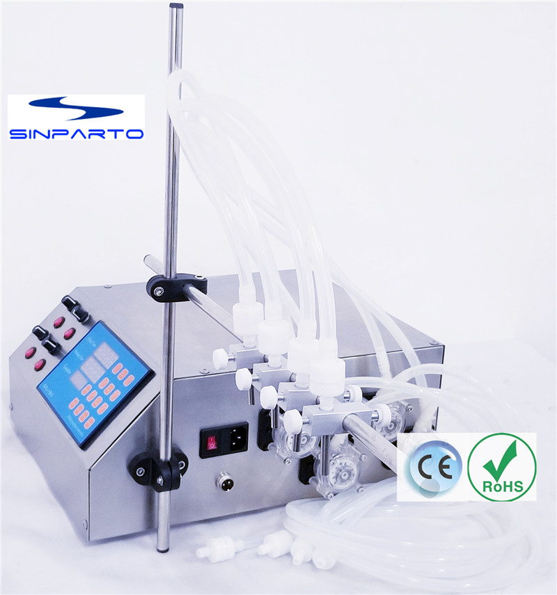 Sinparto Peristaltic pump liquid filling machine 0.5-600ml/min with 4 heads liquid filler for acids, solvents, perfumes filler zonesun pneumatic a02 new manual filling machine 5 50ml for cream shampoo cosmetic liquid filler