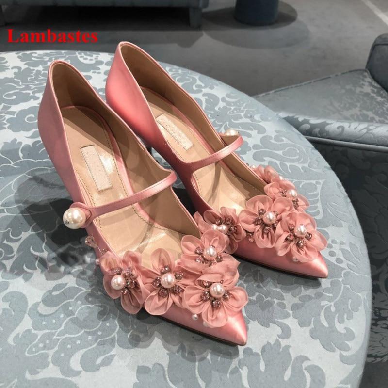 Fleur Printemps Haute Rose Pic 2019 Pompes Designer As Talons Casual Mariage as Chaussures De Pic Cristal Femmes Parti Boucle Sangle Chaud Dentelle aq4rzwxa