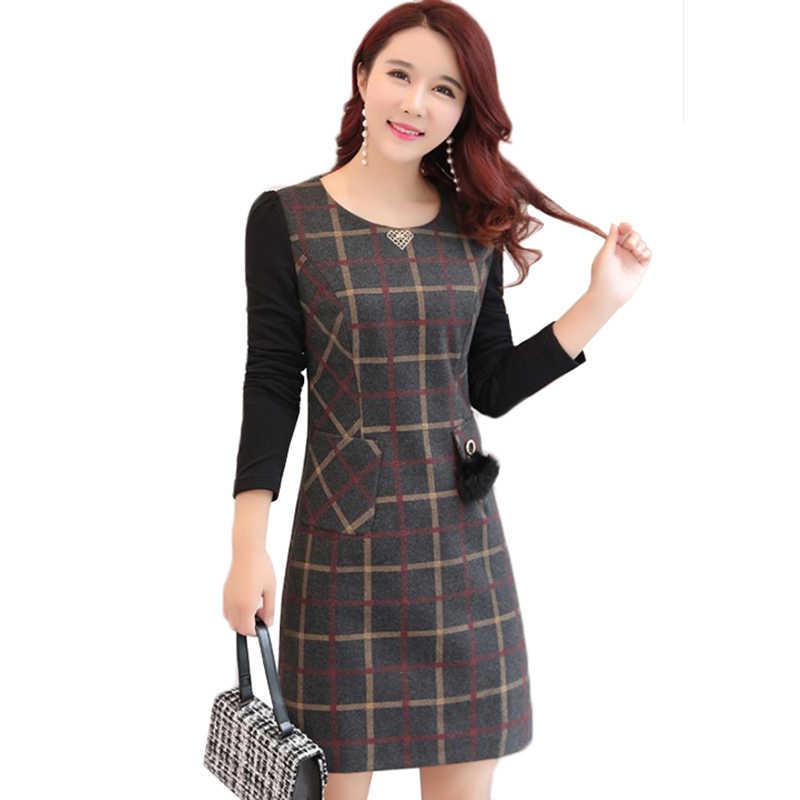 Зимние женские платья 2019 Новая мода клетчатое плотное шерстяное платье тонкий плюс размер 4XL сексуальная сумка бедра платье женская одежда Vestidos Y69