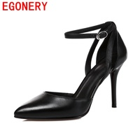 Egonery Summer Pumps Women Shoes Heels New 2017 Pointed Toe Real Leather Women Thin Heels Buckle
