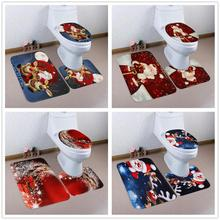 цена на 3Pcs/set Bathroom Mat Set Flannel Anti-Slip Kitchen Bath Mat Carpet Bathroom Toilet Rug Washable Merry Christmas
