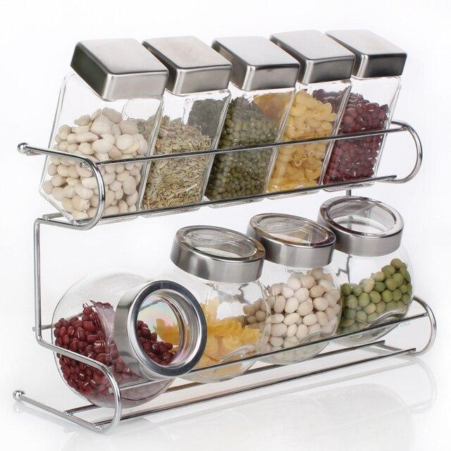 Kitchen Rack Set: Kitchen Spice Bottle Set Seasoning Jar Shelf Spice Rack