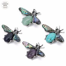 1pc/lot Mother of Pearl Shell Natural Paua Abalone Shell Pendants Green Aventurine Bee Pin Brooches for DIY Insect Jewelry F7644(China)