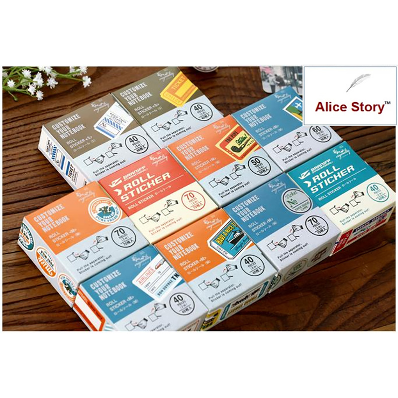 DIY Roll Sticker Boxed Vintage Stickers Retro Travel Japanese Style Paper Stamp Sticker  Customize Your Notebook