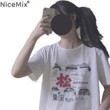 NiceMix Summer Harajuku TShirt Women Tops Kawaii T-shirts Print Chinese Cartoon Female Sweet Loose Tee Shirt Vetement Femme 2019