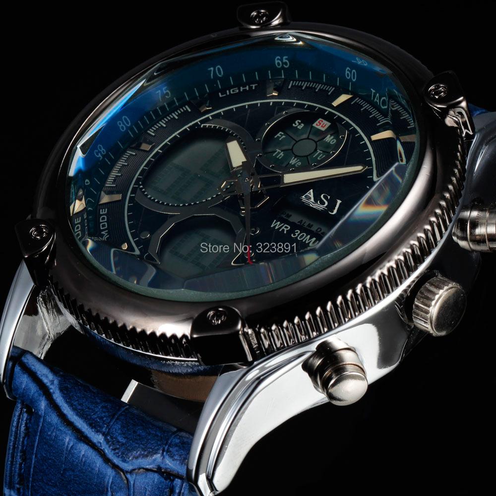 Prix pour Hot new mode élégant sport résistant à l'eau sport fonction horloge armée LED numérique bracelet en cuir hommes montre-bracelet militaire