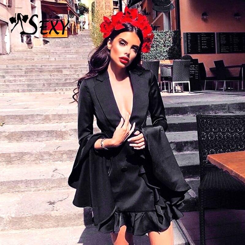 Gosexy 2019 New Women Sexy Deep V Button Blazers Fashion Solid Black Falbala Full Sleeve Suits