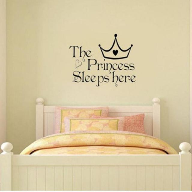 The Princess Sleeps Here Wall Say Quote Word Lettering Art Vinyl Sticker Decal Home Decor