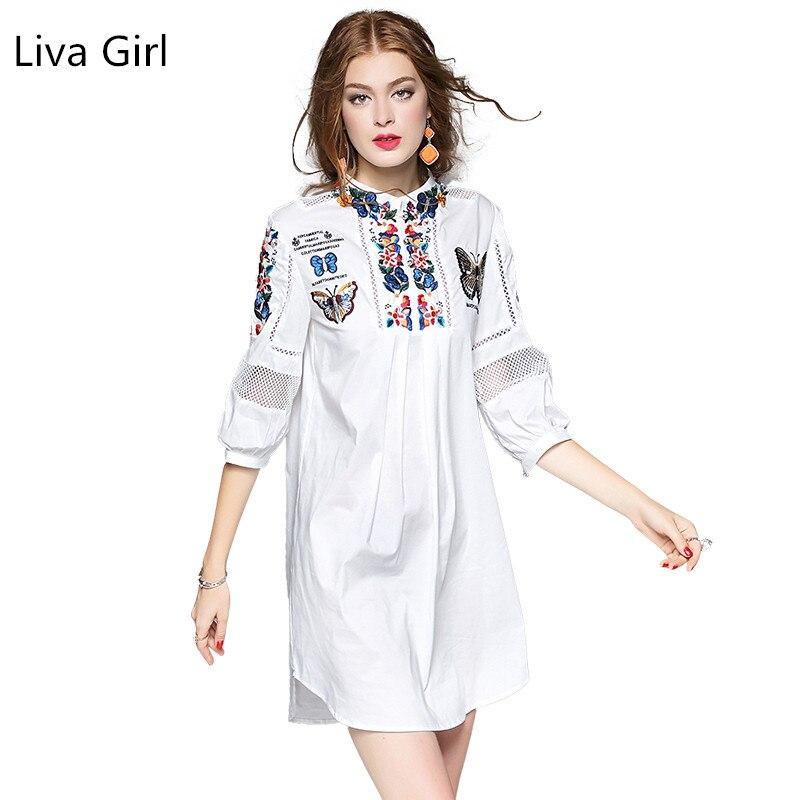 LIVA GIRL 2017 Весной Новые Женщины Dress Китайская Национальная Ветер Вышивка Цветы Dress Высокое Качество Фонарь Рукава Платья lyq042