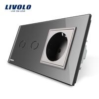 Free Shipping Livolo Touch Switch Gray Crystal Glass Panel AC 110 250V EU Standard Wall Socket