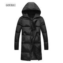 2017, Новая мода зимняя куртка Для мужчин снег с капюшоном теплые пальто Парки Для мужчин плюс Размеры S-4XL 5XL толстый длинный одноцветное Для мужчин; зимняя куртка S