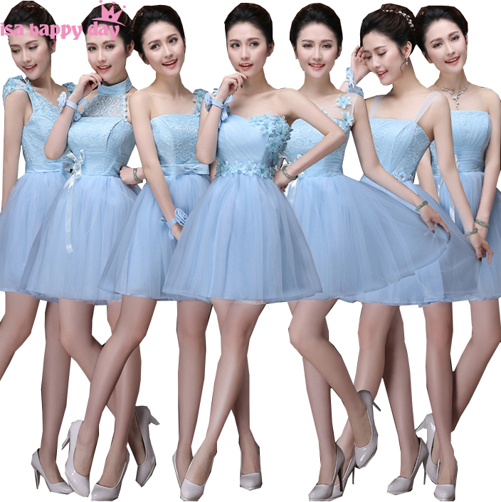 Junior Cheap Ice Blue Elegant Bridemaids Girls Natural Pageant Dresses Sweetheart Bridesmaid Dress For Wedding Guest B3384