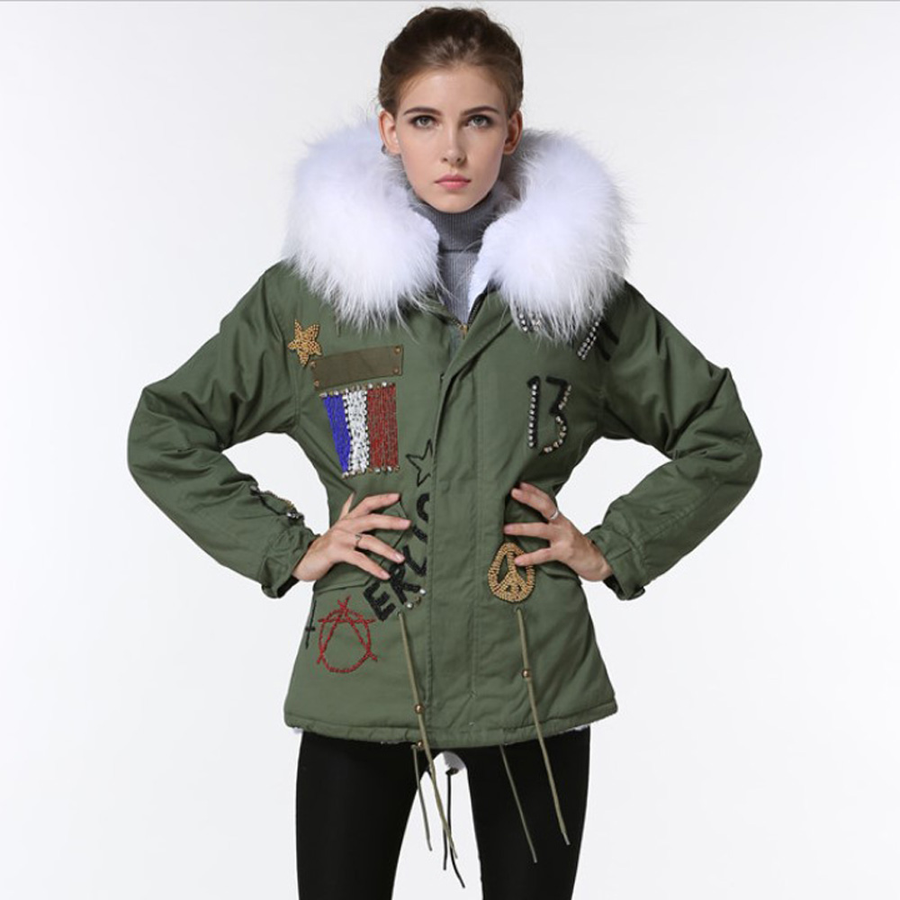 Winter Real Raccoon Fur Collar Jackets 2017 High Quality Cotton Hooded Parka Coat Women Long Sleeve Thicken Warm Coats Plus Size high quality women jackets winter down cotton coats hooded real fur collar parkas plus size thick warm cotton jackets okxgnz1131