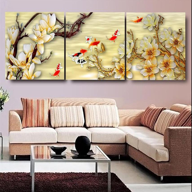 Canvas Pictures White Magnolia Wall Art Paintings Living Room Decor Picture Prints