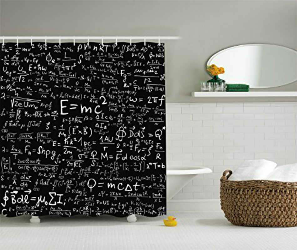 Memory Home Einstein Physics Formula Science Geek Black White Polyester Fabric Shower Curtain Gift Elusive To Your Curtain Call