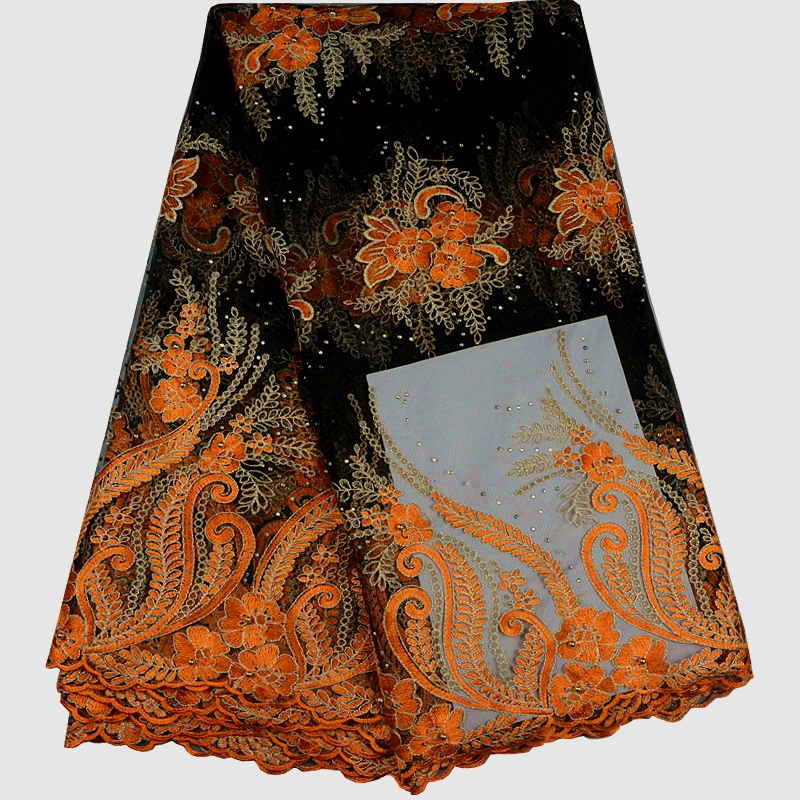 African Lace Fabric Orange Color French Laces Fabric With Nice Flower Embroidered Nigerian Lace Fabrics For Wedding Dress F632-in Lace from Home & Garden    1