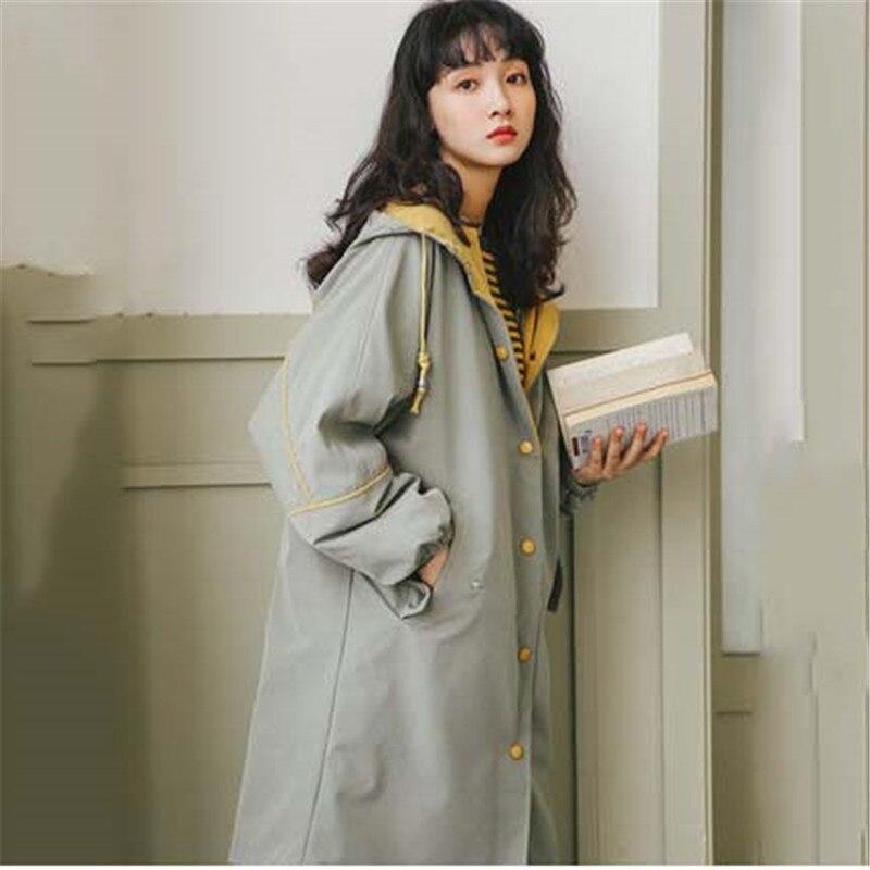 Cappotto Autunno Coreano Tuta Di A Donna Da Chic Cappuccio Vento Spessa  Thin green Lunga Apricot ... ee3df2ef243