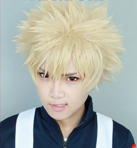 <font><b>My</b></font> Boku no <font><b>Hero</b></font> <font><b>Academia</b></font> Bakugou Katsuki <font><b>Bakugo</b></font> Wigs Short Light Blonde Heat Resistant Fluffy Layered <font><b>Cosplay</b></font> Costume Wig image
