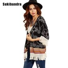 Sukibandra 2017 New Boho Chic Beach Fringe Kimono Cardigan Blusas Summer Ladies Womens Tops Vintage Retro Print Tassels Blouse