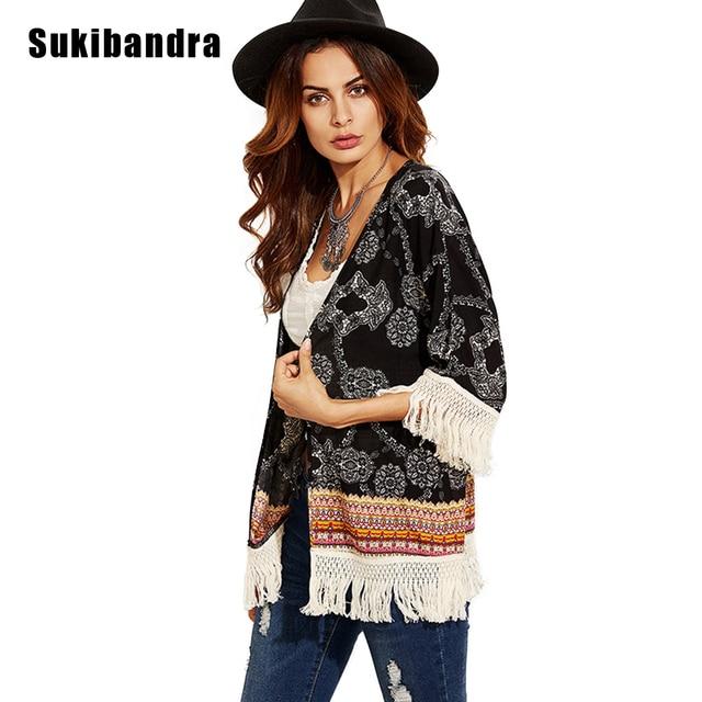 a1546b26a45 Sukibandra New Boho Chic Beach Fringe Kimono Cardigan Blouse 2018 Women  Summer Ladies Tops Vintage Retro Print Tassels Blouses