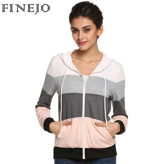 0d407eff049 FINEJO Women Casual Hoodies Sweatshirts Zipper Top Ropa Mujer Long Sleeve  Splicing Pockets Hooded Hoody Female Loose Coat XXXL