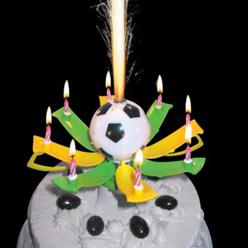 1 PCS Birthday football trophy Flower Candles Party Cake Music Sparkle Cake Topper Candele