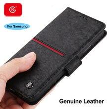 Lüks hakiki deri cüzdan kılıf Samsung Galaxy S9 S10 S20 artı not 8 9 10 20 kılıfı darbeye koruyucu flip kapak kılıfları