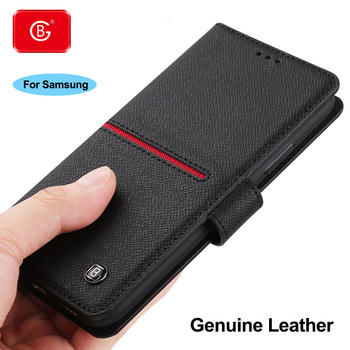 Luxury Genuine Leather Wallet Case For Samsung Galaxy S9 S10 S20 Plus Note 8 9 10 20 Case Shockproof Protective Flip Cover Cases